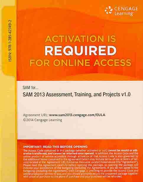 Sam 2013 Assessment, Training, and Projects V1.0 Printed Access Card By Sam